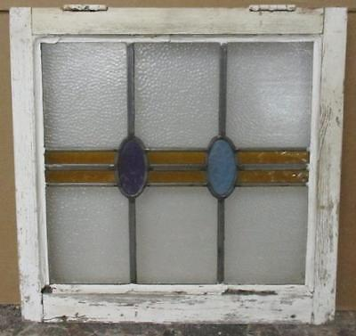 "LARGE OLD ENGLISH LEADED STAINED GLASS WINDOW Abstract Geometric 18.75"" x 18.75"""