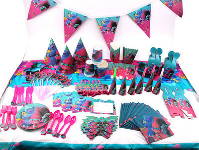 New Trolls Theme Tableware Set Baby Shower Kids Birthday Party Supplies Gift