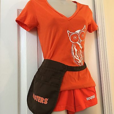 HOOTERS Authentic Used Top XS Small Waitress Outfit Orange Booty Shorts TIP BAG