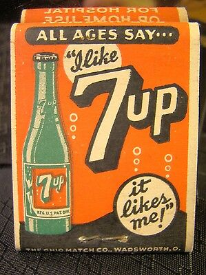 Vintage Rare Drink 7 UP Soda Matches Match Book It Likes You Hospital Unstruck