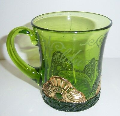 Green Depression Pinwheel Glass Wildwood 1905 Fair Souvenir Mug - HTF Vintage