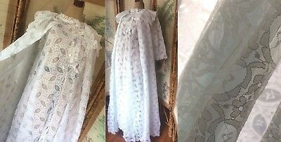 VTG 50s 60s NOS NWOT SET SHEER FILMY CHIFFON PEIGNOIR SET GOWN+ROBE WHITE BLUE M