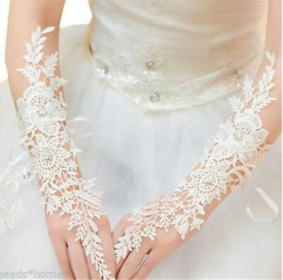 US Lace Long White Wedding Party Bridal Gloves Fingerless Finger Rings Beads GW