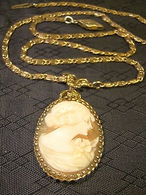 """Antique Edwardian Hand Carved Shell Cameo S Link Chain 16.5"""" Gold Necklace"""