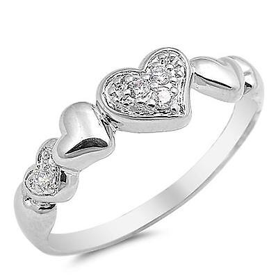 SPARKLING HEARTS ~ Solid 925 GENUINE STERLING SILVER Ring ~ Size 9 / S