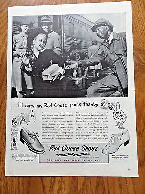 1945 Red Goose Shoes Shoe Ad  At the Railroad Station Porter Black Americana