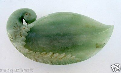 Antique Old Hand Carved Unique Green Jade Hakik Stone Peacock Figure Bowl Pot