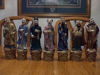 Chinese Porcelain Famille Rose Seven Asian Buddha Immortal Gods Figure Figurines