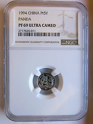 1994 1/20 Platinum Panda NGC PF69 5 Yuan Sealed China Chinese Coin