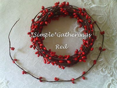 18 ft. Single Ply RED Pip Berry Garland, Wispy, Primitive, Crafts Supply, Rope