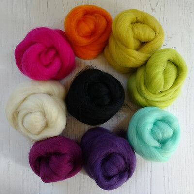 Corriedale Wool Roving 100g Needle Felting Wet Felting Spinning Mixed Colours