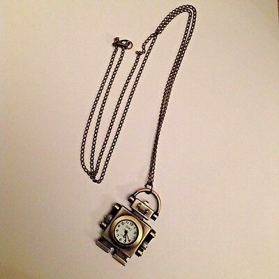 Robot watch on chain necklace