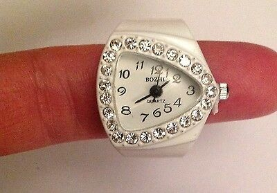 White triangle ring watch