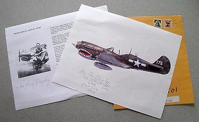 Ww2 Donald Quigley - Flying Tigers Ace Signed 9X11 (2) Autograph Photo W/ Envel.