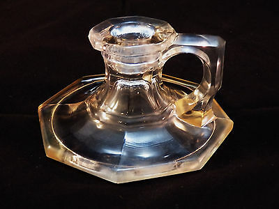 Vintage Small Antique Octagonal Clear Glass Chamberstick Candle Holder