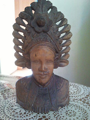 Balinese Hand carved Wooden Female decorative face figurine
