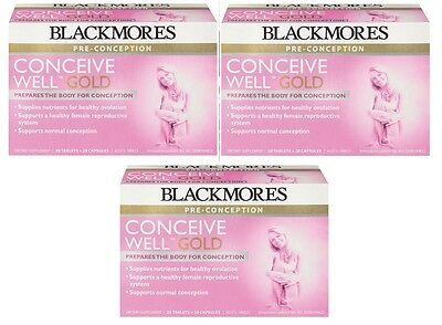 3 x Blackmores Conceive Well Gold 56 Tablets (28 Tablets + 28 Capsules) New