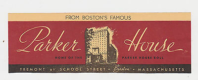 Vintage Luggage Label  Parker House In Boston