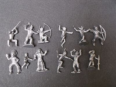 Western Indians Figures Marx Toys Recast 12 Characters 45 Mm 1960's Warrior Etc.