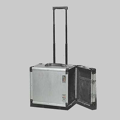 "Aluminum Jewelry Carrying Case w Wheels Combo Lock Box 6 3/8"" x 9 3/8"" x 13 1/2"""