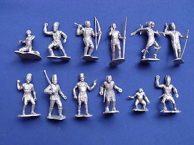 """African People Marx Toys Recast 12 Characters 2"""" 1960's Medicine Man, Chimp, Etc"""