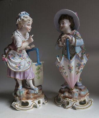 PR Porcelain Bisque baby figurine GERMAN Victorian Umbrella wicker vintage vase