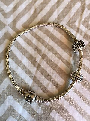 20cm Pandora Sterling Silver Bracelet 925 ALE Excellent Cond, With Two Charms