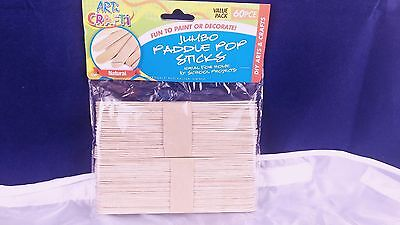 120 Pcs JUMBO Natural Wooden Craft Stick Paddle Pop Popsicle Sticks 1.5 x 18 cm