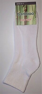 6 Pairs Sz 6-11 Mens Solid White 90% Bamboo Cushion Foot 3/4 Sport Socks