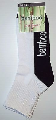 6 Prs Mens Sz 6-11 White & Black 90% Bamboo 3/4 Cushion Foot Sport Socks
