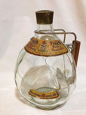 Vintage Haig & Haig Pinch Scotch Whiskey Glass Bottle Wire Netting Stand/Handle