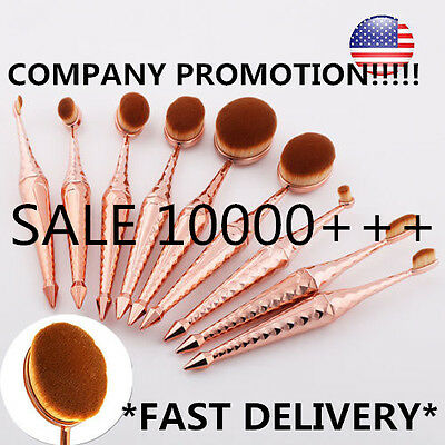 10Pcs PRO Toothbrush Oval Make up Brushes Set Powder Foundation Contour