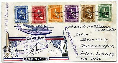 Philippines registered clipper airmail via U.S. to Holland, 1937