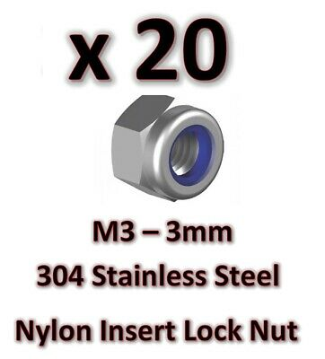 20 x  M3 Stainless Steel 304 A2 Hex Nyloc Nut 3mm Nylon Insert Lock Nuts DIY