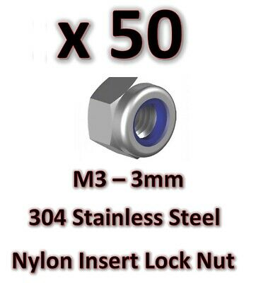 50 x  M3 Stainless Steel 304 A2 Hex Nyloc Nut 3mm Nylon Insert Lock Nuts DIY