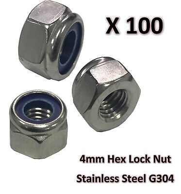100 x  M4 Stainless Steel 304 A2 Hex Nyloc Nut 4mm Nylon Insert Lock Nuts DIY