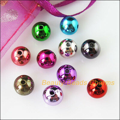 30Pcs Mixed Plastic Acrylic UV Smooth Round Ball Charms Spacer Beads 10mm