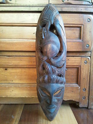 Old Pacific Islands Hand Carved Wooden Mask / Wall Hanging…