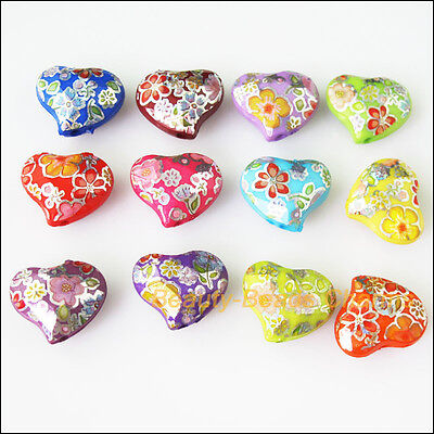 8Pcs Mixed Plastic Acrylic Smooth UV Heart Charms Spacer Beads 17x19.5mm