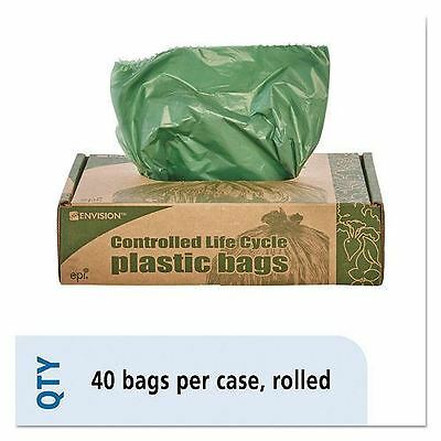 Stout - Eco-Degradable Plastic Trash Garbage Bag, 33gal, 1.1mil, 33 x 40, Green