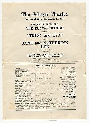 """1925 Vintage Stage Program: The Duncan Sisters """"Topsy and Eva"""" [Selwyn Theatre]"""