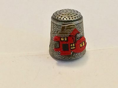 """A Polished and Hand Painted Pewter Thimble of the """"Old Lady who Live in a Shoe"""""""