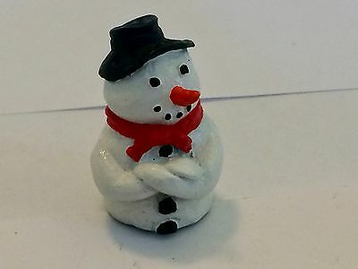 """A Delightful Hand Painted Pewter thimble of a """"Snowman"""""""