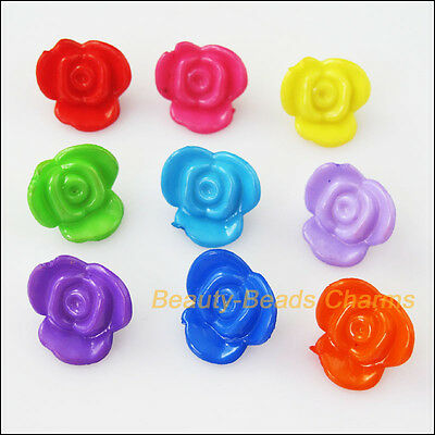 25Pcs Mixed Plastic Acrylic Rose Flower Charms Spacer Beads 16mm