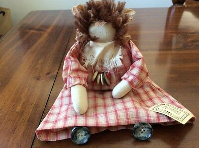 Vintage Primitive Handmade Small Rag Doll w/Button Legs & Necklace - Very Cute