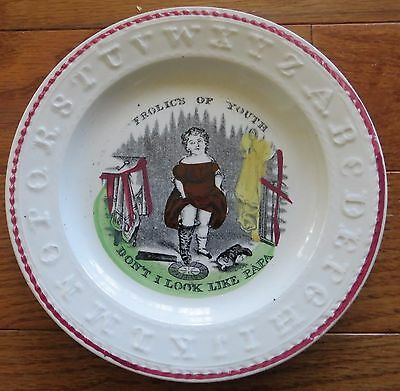 Antique Staffordshire Childs ABC Plate Frolics of Youth Don't I Look Like Papa