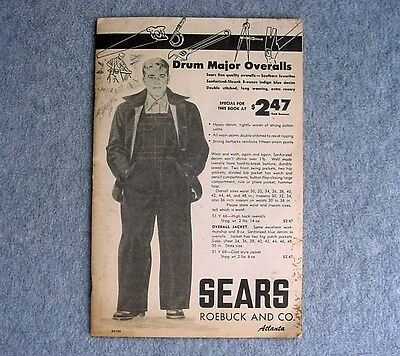 Vintage Workwear Denim Overalls Shirts Gloves Pants 1940 Sears Catalog Hercules