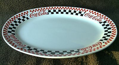 Coca Cola Gibson Oval Serving Platter Checker Pattern 13 1/2""