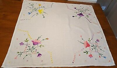 Vintage Embroidered Floral Cotton Tablecloth
