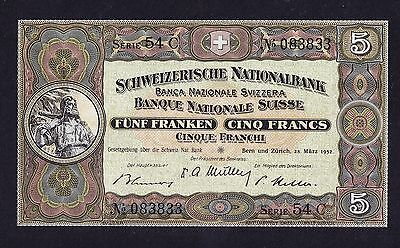 1952 SWITZERLAND 5 Franc Banknote Uncirculated in MINT CONDITION Excellent Rare